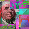 New 2009 Series Pop Art Colorized Us One Hundred Dollar Bill  No. 3 by Serge Averbukh