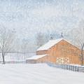New Barn In Snowstorm by Sam Davis Johnson