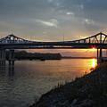 New Bridge At Winona Minnesota Sunrise by Kari Yearous