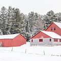 New England Farm With Red Barns In Winter by Edward Fielding