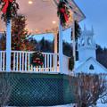 New England Gazebo And White Church In Winter - Washington Nh by Joann Vitali