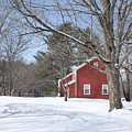 New England Red House Winter by Edward Fielding
