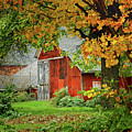 New England Rustic - New England Fall Landscape Red Barn by Jon Holiday