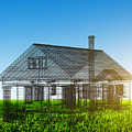 New House Wireframe Project On Green Field by Michal Bednarek