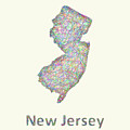 New Jersey Line Art Map by David Zydd