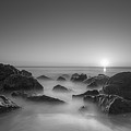 New Jersey Sunrise At Sea Girt Bw by Michael Ver Sprill