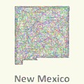 New Mexico Line Art Map by David Zydd
