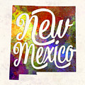 New Mexico Us State In Watercolor Text Cut Out by Pablo Romero