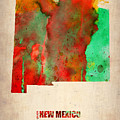 New Mexico Watercolor Map by Naxart Studio