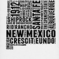 New Mexico Word Cloud Map 2 by Naxart Studio