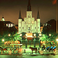 New Orleans Night Photo - Saint Louis Cathedral by Peter Potter