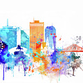 New Orleans Watercolor Skyline by Dim Dom