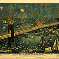 New York And Brooklyn Bridge Opening Night Fireworks by John Stephens