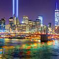 New York City Brooklyn Bridge Tribute In Lights Freedom Tower World Trade Center Wtc Manhattan Nyc by Jon Holiday