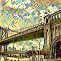 New York City - Brooklyn Bridge Watercolor by Bill Cannon