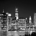 New York City Bw Tribute In Lights And Lower Manhattan At Night Black And White Nyc by Jon Holiday