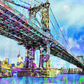 New York City Manhattan Bridge Blue by Tony Rubino