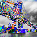 New York City Manhattan Bridge Pure Pop Blue by Tony Rubino