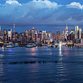 New York City Nyc At Dusk by Nicholas Laning