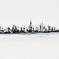 New York City Skyline Black And White by Jack Diamond