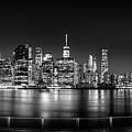 New York City Skyline Panorama At Night Bw by Az Jackson