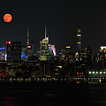 New York City Sskyline With Empire State Building And Full Moon by Juergen Roth