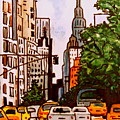 New York City Taxis by Elizabeth Robinette Tyndall