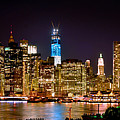 New York City Tribute In Lights And Lower Manhattan At Night Nyc by Jon Holiday
