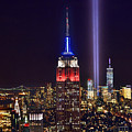 New York City Tribute In Lights Empire State Building Manhattan At Night Nyc by Jon Holiday