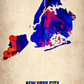 New York City Watercolor Map 1 by Naxart Studio
