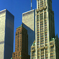 New York City - Woolworth Building And World Trade Center by Peter Potter