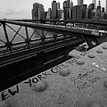New York City You're Beautiful Brooklyn Bridge Ny Black And White by Toby McGuire