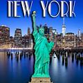 New York Classic Skyline With Statue Of Liberty by Az Jackson