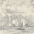 New York From Ellis Island by Joseph Pennell