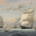 New York Harbor By Fitz Henry Lane 1852 by Fitz Henry Lane