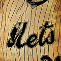 New York Mets 21 Red And Blue Vintage Cards On Brown Background by Drawspots Illustrations
