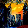 New York Night Skyline by Jean Habeck