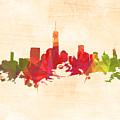 New York Orange Skyline by Alex Antoine