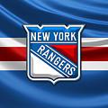 New York Rangers - 3d Badge Over Flag by Serge Averbukh