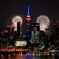 New York Skyline And Fireworks by Regina Geoghan
