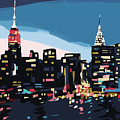 New York Skyline At Dusk In Navy Blue Teal And Pink by Beverly Brown