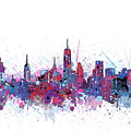 New York Skyline Color Splatter by Bekim Art