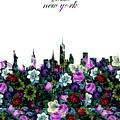 New York Skyline Floral 3 by Bekim Art