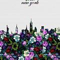 New York Skyline Floral 4 by Bekim Art