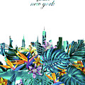 New York Skyline Floral  6 by Bekim Art