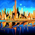 New York Skyline Blue Orange - Modern Art by Peter Potter