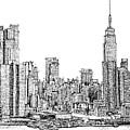 New York Skyline In Ink by Adendorff Design