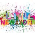 New York Skyline Paint Splatter Text Illustration by Jit Lim