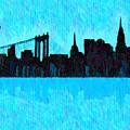 New York Skyline Silhouette Cyan - Da by Leonardo Digenio