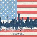 New York Skyline Usa Flag 4 by Bekim Art